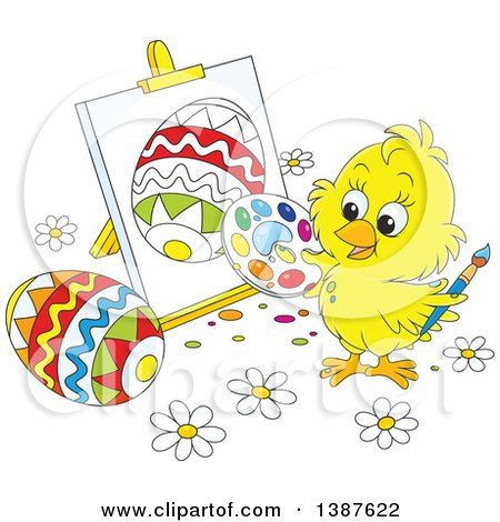 Clipart of a Cartoon Cute Yellow Chick Painting Easter Eggs on Canvas - Royalty Free Vector Illustration by Alex Bannykh