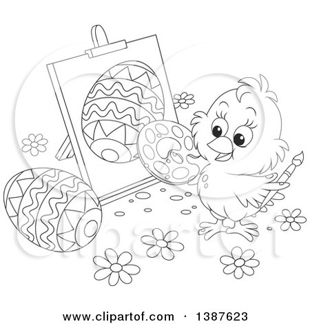 Clipart of a Black and White Lineart Cute Chick Painting Easter Eggs on Canvas - Royalty Free Vector Illustration by Alex Bannykh
