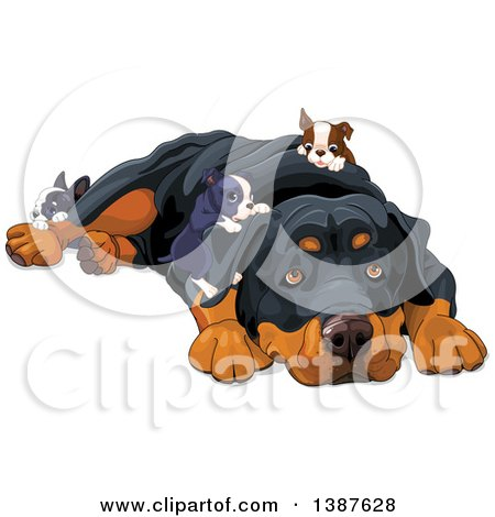 Clipart of a Cute Rottweiler Dog Resting and Being Crawled on by Puppies - Royalty Free Vector Illustration by Pushkin