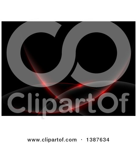 Clipart of a Background of Red Lights and Domes on Black - Royalty Free Vector Illustration by dero