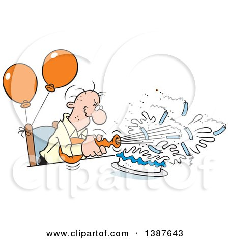 Clipart of a Cartoon Bald Senior White Man Blowing out His Birthday Cake Candles, Where Theres a Will Theres a Way - Royalty Free Vector Illustration by Johnny Sajem