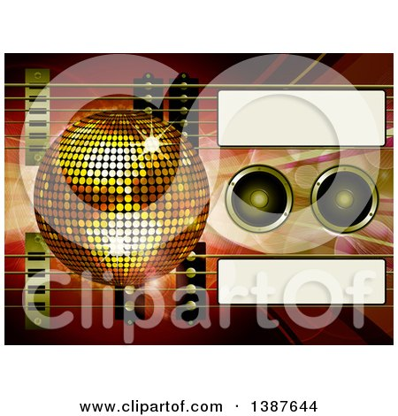 Clipart of a 3d Air Guitar and Gold Disco Ball over Music Speakers, Waves, Flares and Tags - Royalty Free Vector Illustration by elaineitalia