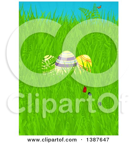 Clipart of 3d Striped Easter Eggs, Flowers and Butterflies in Spring Grass - Royalty Free Vector Illustration by elaineitalia