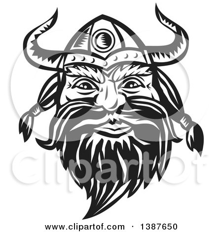 Clipart of a Retro Woodcut Black and White Male Viking Norseman Warrior Face with a Long Beard and Horned Helmet - Royalty Free Vector Illustration by patrimonio