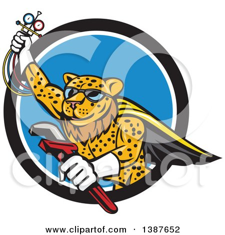 Clipart of a Cartoon Flying Super Leopard Refrigeration and Air Conditioning Mechanic Holding up a Pressure Temperature Gauge and a Monkey Wrench, Emerging from a Black White and Blue Circle - Royalty Free Vector Illustration by patrimonio