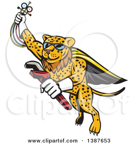 Clipart of a Cartoon Flying Super Leopard Refrigeration and Air Conditioning Mechanic Holding up a Pressure Temperature Gauge and a Monkey Wrench - Royalty Free Vector Illustration by patrimonio