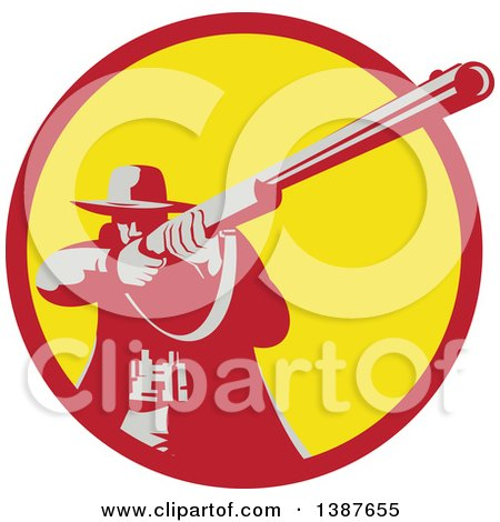 Clipart of a Retro Male Hunter Aiming a Shotgun in a Red and Yellow Circle - Royalty Free Vector Illustration by patrimonio