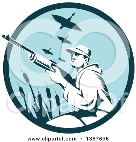 Clipart of a Retro Woodcut Male Goose Hunter Aiming in a Blue Circle - Royalty Free Vector Illustration by patrimonio