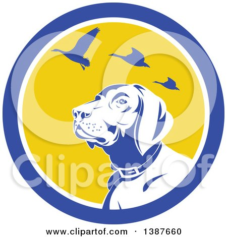 Clipart of a Retro Pointer Hunting Dog Looking up at Flying Geese in a Blue White and Yellow Circle - Royalty Free Vector Illustration by patrimonio