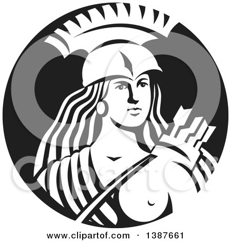 Clipart of a Retro Female Spartan Warrior Archer in a Black and White Circle - Royalty Free Vector Illustration by patrimonio