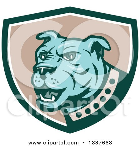 Clipart of a Retro Blue Guard Dog in a Green White and Taupe Shield - Royalty Free Vector Illustration by patrimonio
