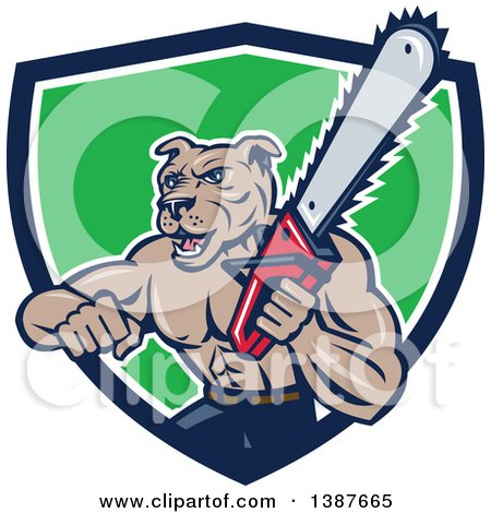 Clipart of a Cartoon Muscular Lumberjack or Arborist Dog Man Holding a Chainsaw and Emerging from a Blue White and Green Shield - Royalty Free Vector Illustration by patrimonio