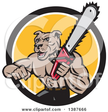 Clipart of a Cartoon Muscular Lumberjack or Arborist Dog Man Holding a Chainsaw and Emerging from a Black White and Yellow Circle - Royalty Free Vector Illustration by patrimonio