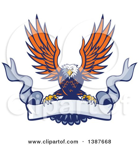 Clipart of a Retro Swooping Orange and Blue Bald Eagle Grasping a Blank Ribbon Banner - Royalty Free Vector Illustration by patrimonio
