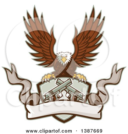 Clipart of a Retro Bald Eagle Flying with a Shield of Crossed 1911 Pistols and a Blank Ribbon Banner - Royalty Free Vector Illustration by patrimonio