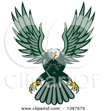 Clipart of a Retro Swooping Green Bald Eagle - Royalty Free Vector Illustration by patrimonio