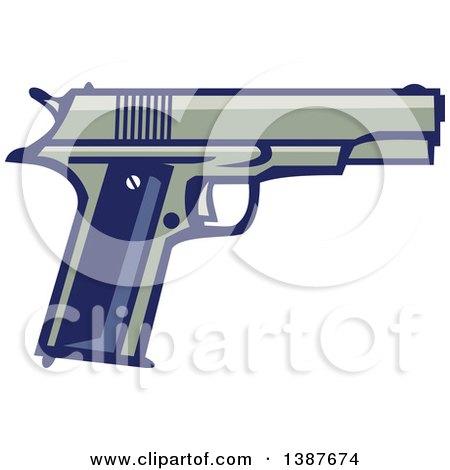 Clipart of a Retro 1911 Semi Automatic Pistol - Royalty Free Vector Illustration by patrimonio
