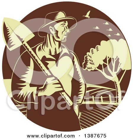 Clipart of a Retro Woodcut Male Farmer Holding a Shovel Against Farmland in a Brown and Yellow Circle - Royalty Free Vector Illustration by patrimonio