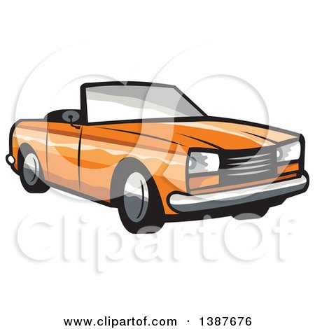 Clipart of a Retro Orange Convertible Coupe Car - Royalty Free Vector Illustration by patrimonio