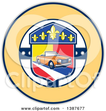 Clipart of a Retro Orange Convertible Coupe Car in a French Coat of Arms with Fleur De Lis Flowers in a Circle - Royalty Free Vector Illustration by patrimonio