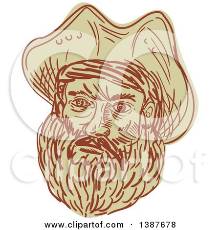 Clipart of a Sketched Bearded Male Pirate Face - Royalty Free Vector Illustration by patrimonio