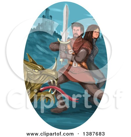 Clipart of a Watercolor Styled Knight Battling a Dragon and Protecting a Princess in an Oval with a Castle - Royalty Free Vector Illustration by patrimonio