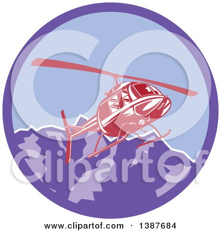 Clipart of a Retro Red Helicopter Flying over the Alps Mountains in a Purple Circle - Royalty Free Vector Illustration by patrimonio