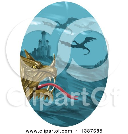 Clipart of a Watercolor Styled Dragon Head Against a Castle and Flying Dragons in an Oval - Royalty Free Vector Illustration by patrimonio