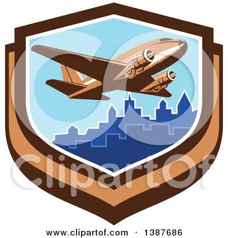 Clipart of a Retro Vintage Passenger DC10 Airplane Flying over a City in a Shield - Royalty Free Vector Illustration by patrimonio
