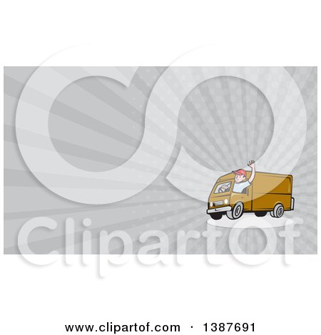 Clipart of a Retro Cartoon Friendly White Male Delivery Truck Driver Waving and Gray Rays Background or Business Card Design - Royalty Free Illustration by patrimonio
