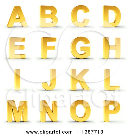 Clipart of 3d Golden Capital Letters a Through P, on a Shaded White Background, with Clipping Path - Royalty Free Illustration by stockillustrations
