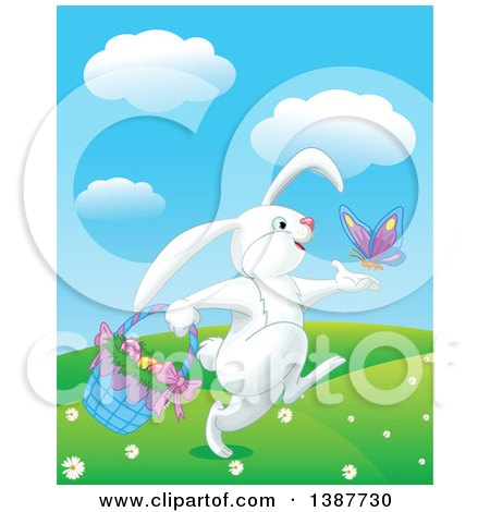 Clipart of a Happy White Bunny Rabbit Playing with a Butterfly and Carrying a Basket of Easter Eggs - Royalty Free Vector Illustration by Pushkin