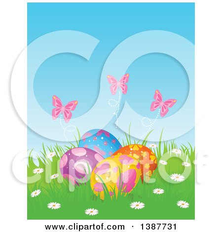 Clipart of a Group of Easter Eggs with Pink Butterflies and Flowers in Grass - Royalty Free Vector Illustration by Pushkin