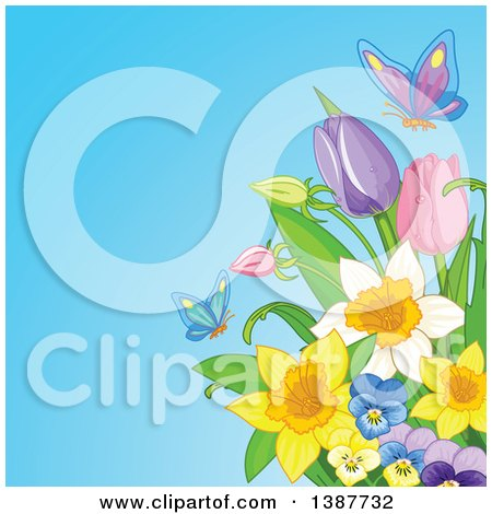 Clipart of a Background of Butterflies and Spring Flowers Against Blue - Royalty Free Vector Illustration by Pushkin