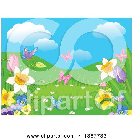 Background of Butterflies, Hills and Spring Flowers Under a Blue Sky with Puffy Clouds Posters, Art Prints
