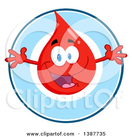 Clipart of a Welcoming Blood or Hot Water Drop in a Blue Circle - Royalty Free Vector Illustration by Hit Toon