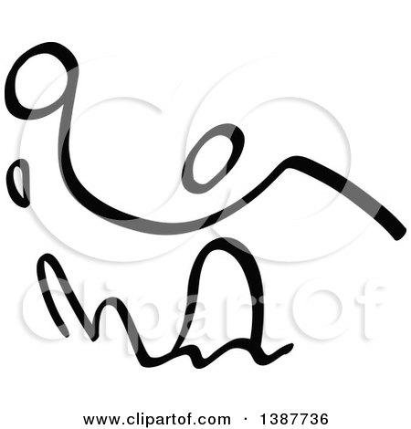 Clipart of a Black and White Stick Man Playing Water Polo - Royalty Free Vector Illustration by Zooco
