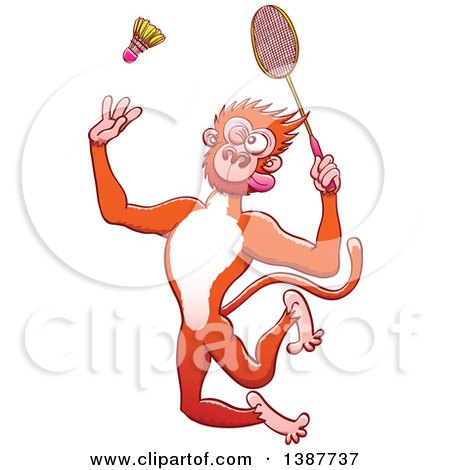Clipart of a Sporty Monkey Playing Badminton - Royalty Free Vector Illustration by Zooco