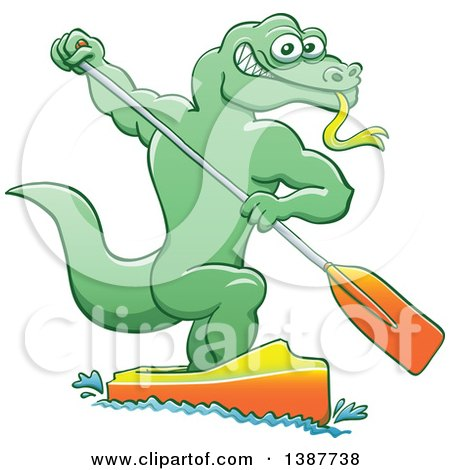 Clipart of a Sporty Water Monitor Lizard Olympic Canoe Sprinting - Royalty Free Vector Illustration by Zooco