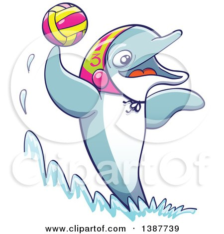 Clipart of a Sporty Dolphin Playing Water Polo - Royalty Free Vector Illustration by Zooco