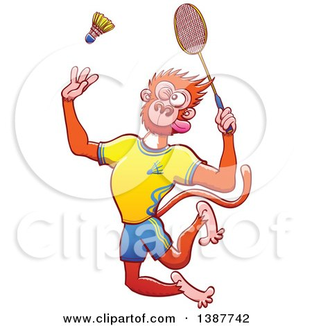 Clipart of a Sporty Monkey in Uniform, Playing Badminton - Royalty Free Vector Illustration by Zooco