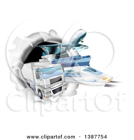Clipart of 3d Cargo Logistics Modes, Trains, Planes Big Rig Trucks, and Ships Breaking Through a Wall - Royalty Free Vector Illustration by AtStockIllustration