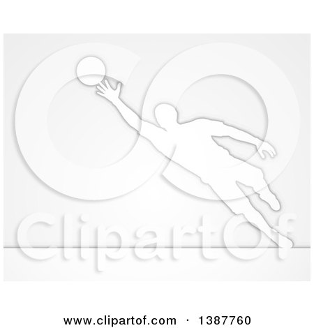 Clipart of a White Silhouetted Male Soccer Player Goal Keeper in Action, over Gray - Royalty Free Vector Illustration by AtStockIllustration