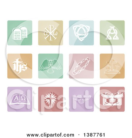 Clipart of White Christian Icons on Pastel Tiles - Royalty Free Vector Illustration by AtStockIllustration