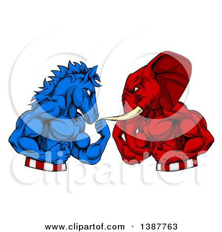 Clipart of a Political Aggressive Democratic Donkey or Horse and Republican Elephant Fighting, Fists Balled - Royalty Free Vector Illustration by AtStockIllustration