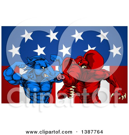 Clipart of a Political Aggressive Democratic Donkey or Horse and Republican Elephant Fighting over Stars and Stripes - Royalty Free Vector Illustration by AtStockIllustration