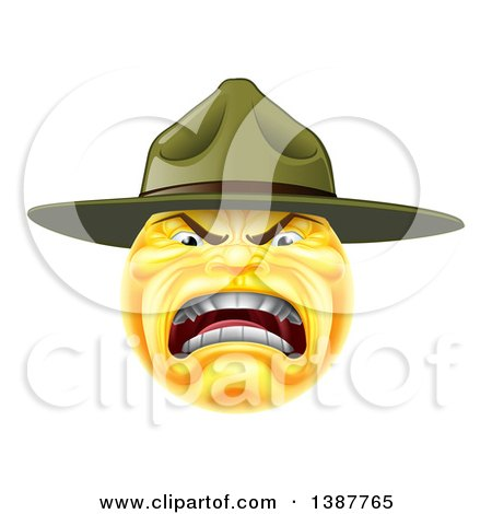 Clipart of a Yellow Smiley Emoji Emoticon Army Drill Sergeant Yelling - Royalty Free Vector Illustration by AtStockIllustration