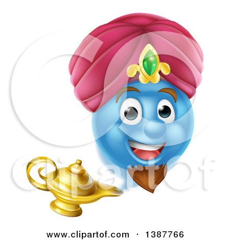 Clipart of a Blue Smiley Emoji Emoticon Genie Emerging from a Lamp - Royalty Free Vector Illustration by AtStockIllustration