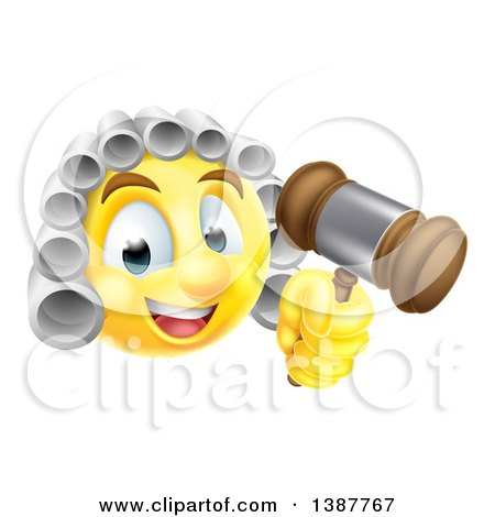 Clipart of a Yellow Smiley Emoji Emoticon Judge Wearing a Wig and Holding a Gavel - Royalty Free Vector Illustration by AtStockIllustration