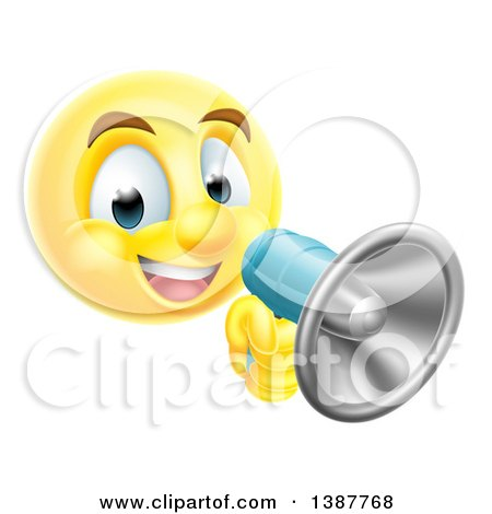 Clipart of a Yellow Smiley Emoji Emoticon Using a Megaphone - Royalty Free Vector Illustration by AtStockIllustration